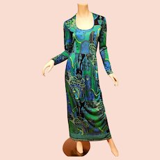 Vtg Anne Fogarty Collector's Item Maxi Boho Chic dress