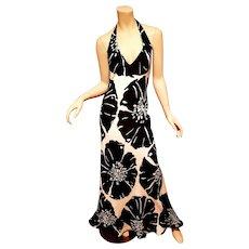Vtg David Meister wild floral  Halter black/white Maxi silk Dress