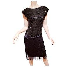 Vtg Sequined Charleston look dress with fringes sash belt