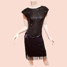 Vtg Sequined Charleston look dress with fringes sash belt