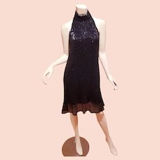 Vtg sequined black Trapeze tent mini dress Georgie Girl look