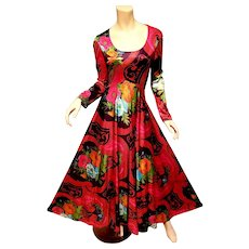 Hobo Chic Maxi multi colored floral printed maxi fluid gown