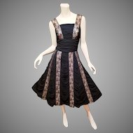 French Estate draped Laced panel Cocktail dress full sweep with Pellon