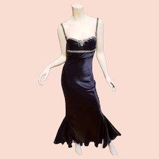 Vtg Roberto Cavalli bustier silk bias gown embellished crystals Train Panels.