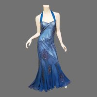 Vtg Adrianna Papell beaded  Evening mermaid beaded halter silk gown