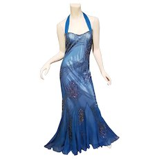 Vtg Adrianna Papell beaded  Evening mermaid beaded halter silk gown