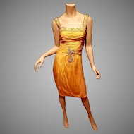 Vtg Yellow Organza Embellished Toga Ruched dress