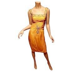 Vtg Yellow Organza Embellished Toga Ruched dress