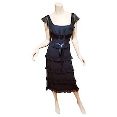 Vtg Designer dress chiffon ruffled belt(Label Was cut)