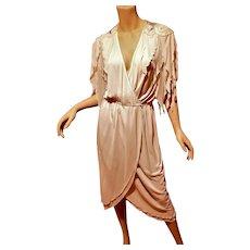 Vtg Jonathan Hitchcock silk chiffon embellished wrap dress w / tails