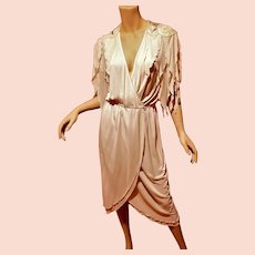 Vtg Jonathan Hitchcock silk chiffon embellished wrap dress w / tails