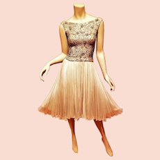 Vtg 1950 Pat Sandler Couture silk chiffon heavilly Embellished full sweep pleated cocktail dress