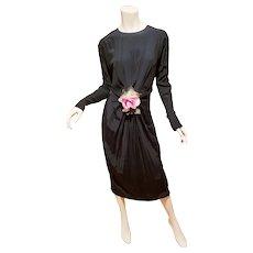Vtg 1960 doing 1940 dress Fan detail pleats millinery flower