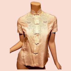 Vtg silk embroidered Cheongsam blouse made especially for Bloomingdales