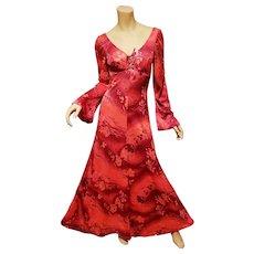 Vtg Sirena red orange floral Maxi dress open back bell sleeves