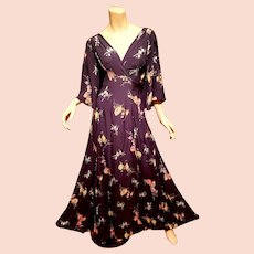 Vtg Maxi crepe floral gown 1960's doing 1940's cross over ruched