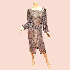 Vtg  1960's Silver Lame fully Sequined silk chiffon flapper dress with tie belt.