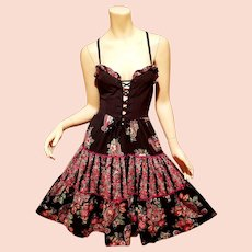 Vtg 1970's Young Edwardian by Arpeja Boho Chic peasant dress bustier front tie floral full sweep
