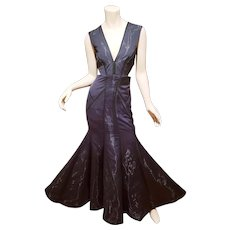 Vtg Nicole Miller Black Fluidity maxi Mermaid  Gown  $795