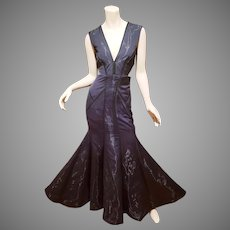 Vtg Nicole Miller Black Fluidity maxi Mermaid  Gown  $795