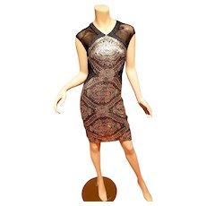 Badgley Mischka Collection Golden Eye gold sequined dress peek a boo back  $550