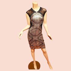 Badgley Mischka Collection Golden Eye gold sequined dress peek a boo back  $550