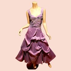Vtg Violet gathered Ball gown Shantung w/Silver lame bead sequin applique'