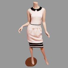 Vtg Moschino boucle dress ivory/black & grosgrain detail