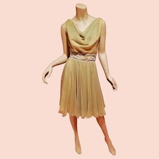 Vtg 1950 Miss Eliette chiffon Embellished dress metal zipper missing label