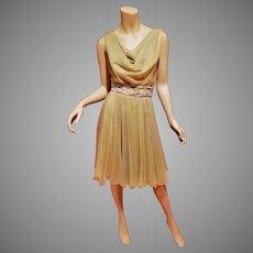 Vtg 1950 Miss Eliette chiffon Embellished dress metal zipper missing label