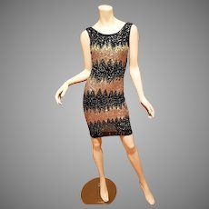 Vtg JEAN LOUIS SCHERRER PARIS Meteor shower Gold bead mini dress