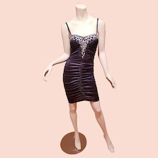 Vtg Fredericks of Hollywood shirred embellished dress black/ Rhinestones