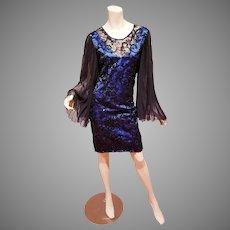 Vtg Guy Laroche Paris Demi Couture lace Dress pleated bat sleeves Azul blue