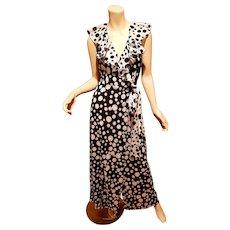Vtg Christian Dior Paris silk black/white polka dot ruffle wrap maxi dress 1st sample