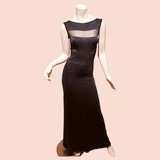 Vtg Missoni Italy Orange Label black Panel maxi gown Illusion details $1,970 retail