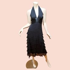 Vtg MaxAzria Couture Collection silk ruffle bias cut midi halter dress NWT $404
