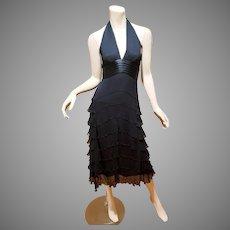 Vtg MaxAzria Couture Collection silk ruffle bias cut midi halter dress NWT $404