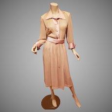 Vtg 1940's Organza and satin wiggle dress sash belt embellished satin button front