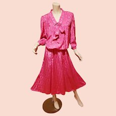 Vtg Diane von Furstenberg cerise wiggle dress kitten bow size- 20