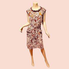 Vtg 1950's Paisley Cotton printed sheath dress with pockets and lucite loop belt