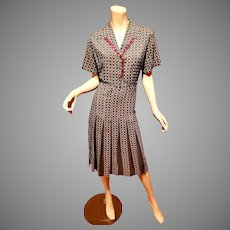 Vtg 1940's satin/crepe wiggle crest printed dress pleated skirt by Caldwell