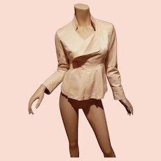 Vtg Chloe' Paris mercerized cotton cream jacket pearlize button