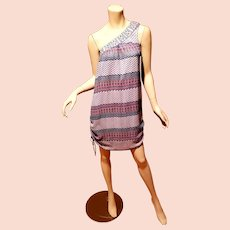 Vtg Luce' Italy one shoulder Aztec dress side ties details