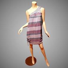 Vtg Luce' Italy one shoulder Aztec dress side ties details