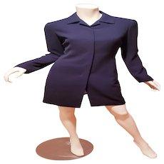 Vtg Tahari classic coat dress front hidden button fully lined sensual