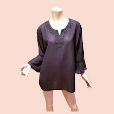 Vtg black chiffon embellished tunic ruffle sleeves