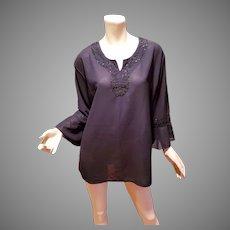 Vtg black chiffon embellished tunic ruffle sleeves
