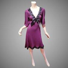 Vtg Merlot/purple knit wiggle dress grosgrain bow trims beads