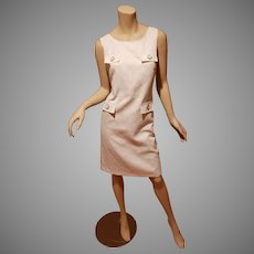 Vtg cotton brocade Designer sheath dress large button & flaps details