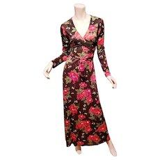 Vtg 1950's Boho Chic Maxi floral printed dress metal zipper cross over belt